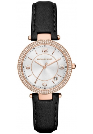 MICHAEL KORS Mini Parker Black Leather Strap 33 mm