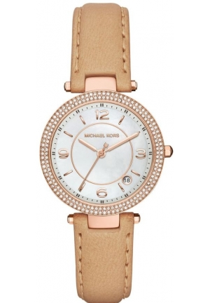 Michael Kors Women's Mini Parker Nude Leather Strap Watch 33mm,MK2463