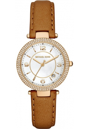 Michael Kors Women's Mini Parker Brown Leather Strap Watch 33mm