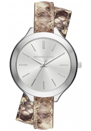 MICHAEL KORS Slim Runway Silver-Tone and Embossed-Leather Wrap Watch 42mm