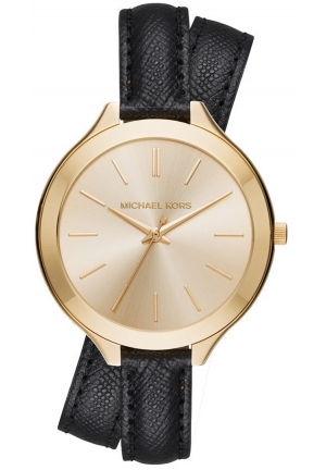 MICHAEL KORS Slim Runway Gold-Tone and Leather Wrap Watch 42mm