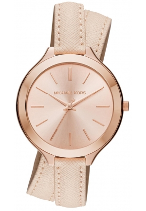 MICHAEL KORS Slim Runway Rose Gold-Tone and Leather Wrap Watch 42mm
