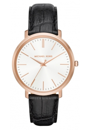 MICHAEL KORS  Jaryn Rose Gold-Tone And Embossed-Black Leather Watch