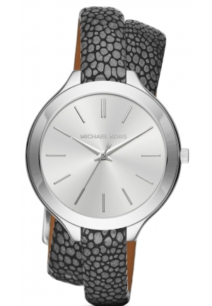 MICHAEL KORS  Slim Runway Silver-Tone And Leather Wrap Watch