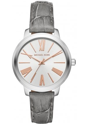 Michael Kors Women's Hartman Gray Leather Strap Watch 38mm