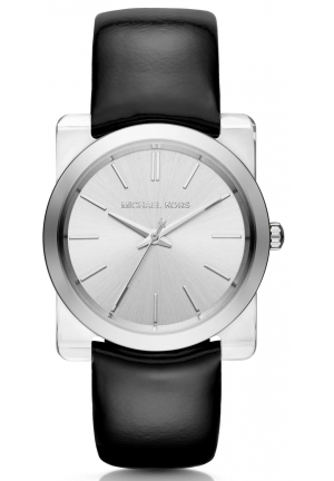 MICHAEL KORS  Kempton Silver-Tone Leather-Band Watch