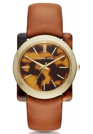 MICHAEL KORS  Kempton Tortoise-Acetate Leather-Band Watch
