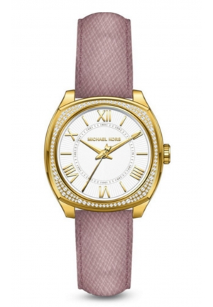 MINI BRYN LADIES GOLD TONE CRYSTAL PASTEL PINK LEATHER WATCH   33MM