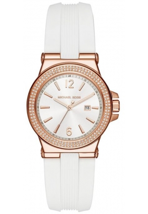 Michael Kors Watches Mini Dylan Pink Silicone and Gold Tone 3 Hand Watch