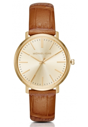 MICHAEL KORS  Jaryn Gold-Tone And Embossed-Brown Leather Watch