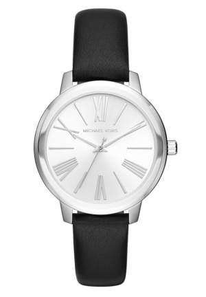 Michael Kors Women's Hartman Black Leather Strap Watch 38mm