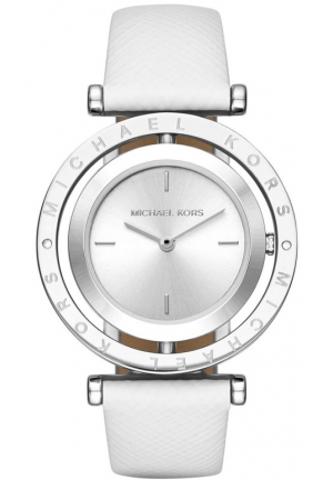 MICHAEL KORS Averi Silver-Tone and White Leather Two-Hand Watch