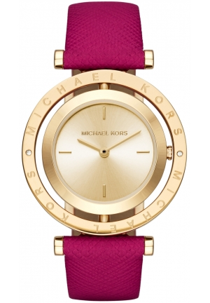MICHAEL KORS Averi Gold-Tone and Pink Leather Two-Hand Watch 33mm