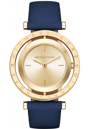 MICHAEL KORS Averi Gold-Tone and Navy Leather Two-Hand Watch 33mm