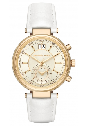 Sawyer Gold-Tone and White Leather Chronograph Watch