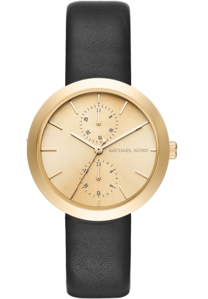 Garner Gold-Tone and Black Leather Multifunction Watch