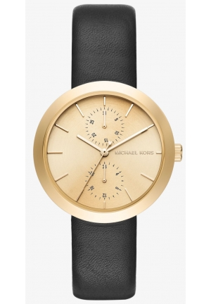 MICHAEL KORS  Garner Gold-Tone And Leather Watch