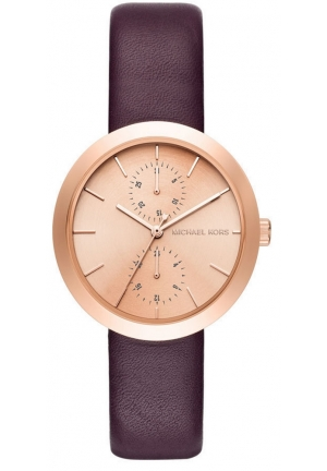 Garner Rose Gold-Tone and Plum Leather Multifunction Watch MK2575
