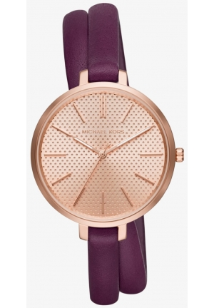 MICHAEL KORS  Jaryn Rose Gold-Tone And Leather Wrap Watch