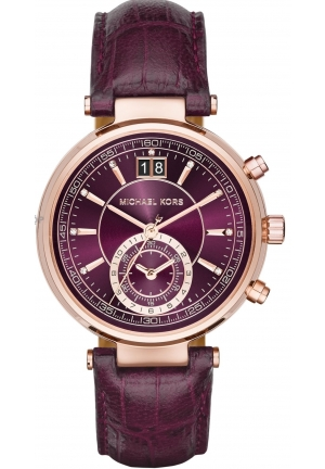 Sawyer Rose Gold-Tone and Plum Leather Chronograph Watch