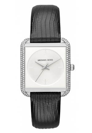 LAKE PAVÉ SILVER-TONE AND EMBOSSED-LEATHER WATCH 32MM