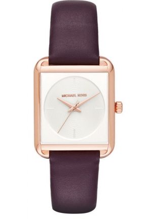 Lake Rose Gold-Tone and Plum Leather Three-Hand Watch
