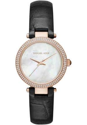 MINI PARKER ROSE GOLD-TONE AND BLACKLEATHER THREE-HAND WATCH
