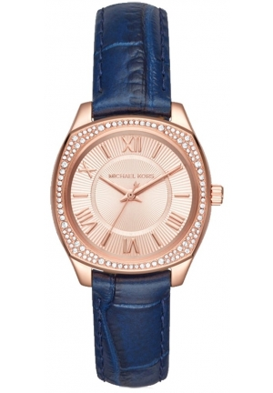 Michael Kors Women's 'Bryn Mini' Crystal Blue Leather Watch