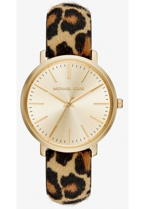 MICHAEL KORS  Jaryn Gold-Tone And Leopard Calf Hair Watch