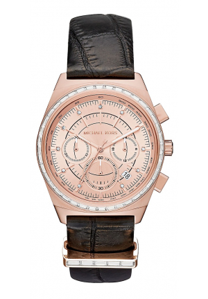 VAIL ROSE GOLD-TONE AND EMBOSSED-LEATHER WATCH 38MM