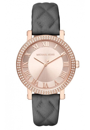 Norie Grey Quilted Leather Strap Watch, 38mm