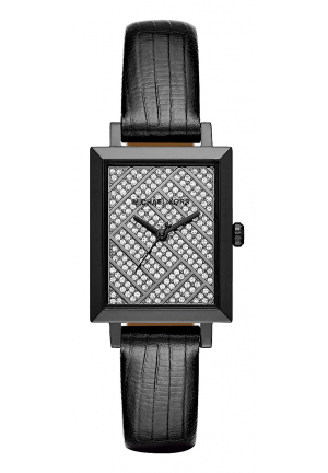 HARWAY PAVÉ GUNMETAL-TONE AND EMBOSSED-LEATHER WATCH 23MMx30MM