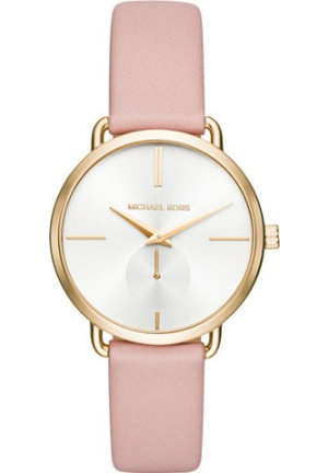 MICHAEL KORS PORTIA PINK LEATHER WATCH 36MM