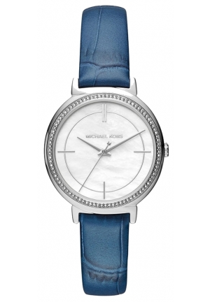 MICHAEL KORS  Cinthia Silver-Tone And Embossed Leather Watch