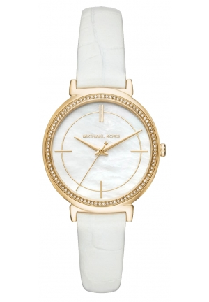 Cinthia Gold-Tone and Embossed-Leather Watch