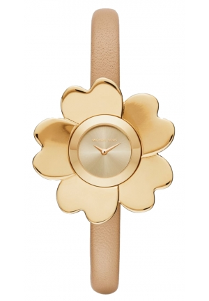 MICHAEL KORS  Mena Gold-Tone And Leather Floral Watch