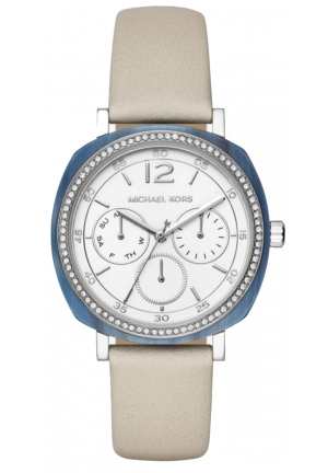 MICHAEL KORS  Nia Silver-Tone And Leather Watch