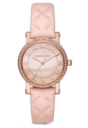 Michael Kors Petite Norie Rose Gold-Tone and Blush Leather Three-Hand Watch MK2683