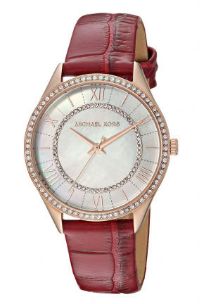 LAURYN ROSE GOLD-TONE AND RED LEATHER THREE-HAND WATCH