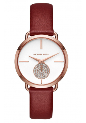 PORTIA ROSE GOLD-TONE AND RED LEATHER WATCH