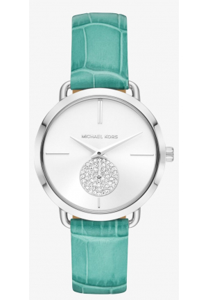 MICHAEL KORS Portia Silver-Tone Embossed Leather Watch