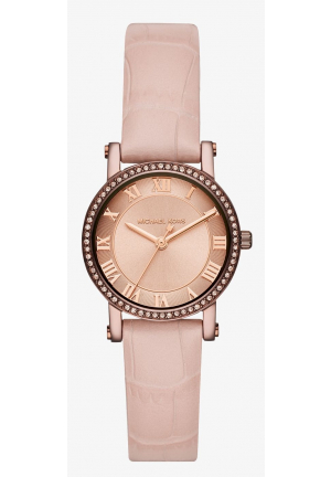 MICHAEL KORS Petite Norie Pavé Sable-Tone Embossed Leather Watch