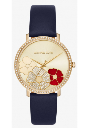 MICHAEL KORS Jaryn Pavé Gold-Tone Leather Watch