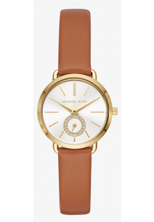 MICHAEL KORS Petite Portia Gold-Tone Leather Watch