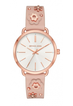 Michael Kors Women's Portia Rose Gold-Tone Leather Floral Applique