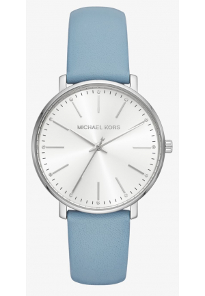 MICHAEL KORS Pyper Silver-Tone Leather Watch