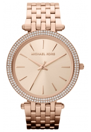 Michael Kors Darci Pavé-Embellished Rose Gold-Tone Stainless Steel Watch 39MM