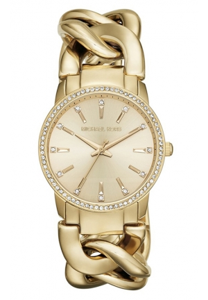 MICHAEL KORS Lady Nini S/s Glitz Crystals Gold Tone Watch 36mm