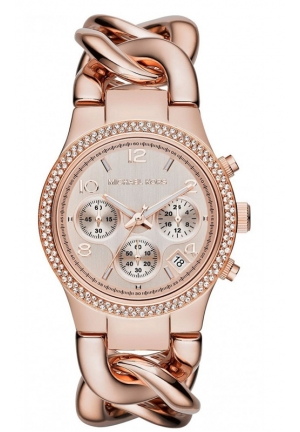 MICHAEL KORS Chronograph Runway Twist Rose Gold-Tone Stainless Steel Bracelet Watch 38mm