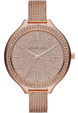 Women's 'Slim Runway' Pavé Crystal Bangle Watch, 43mm
